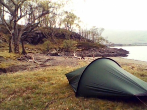 Camping on the shores of Loch Maree